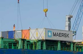 Maersk shipping container being lifted in Hong Kong