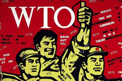 workers on a magazine cover as China joining the WTO