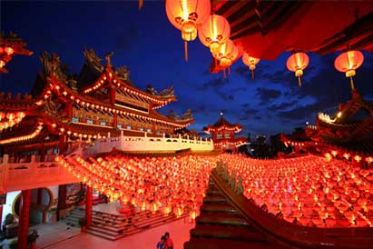 Chinese New Year with red lanterns