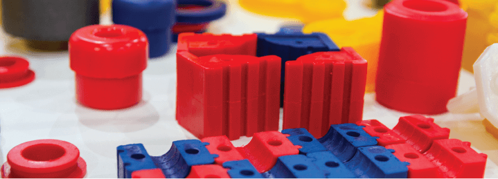 Plastic parts manufactured by a sustainable plastic manufacturing operations.